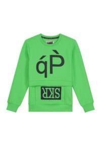 Felgroene sweater met donkerblauwe tekstprint en te gekke zak