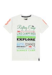 wit t-shirt met kleurrijke tekstprint